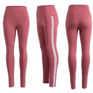Leggings High Waist Rose White Side Stripes S/M